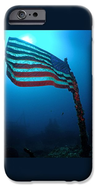 Old Glory iPhone Cases - Old Glory on Sunken Ship iPhone Case by Brent Barnes