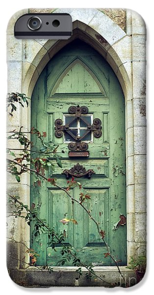 Old Village iPhone Cases - Old Gothic Door iPhone Case by Carlos Caetano