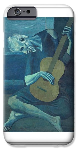 David iPhone Cases - Old Guitarist iPhone Case by Pablo Picasso