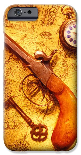 Concept Photographs iPhone Cases - Old gun on old map iPhone Case by Garry Gay