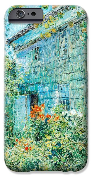 Hassam iPhone Cases - Old House and Garden East Hamptons iPhone Case by Childe Hassam