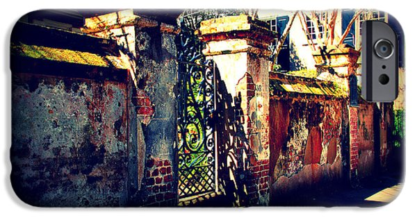 Susanne Van Hulst iPhone Cases - Old Iron Gate in Charleston SC iPhone Case by Susanne Van Hulst