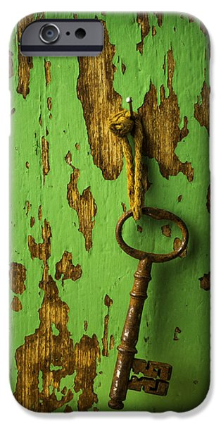 Chip iPhone Cases - Old Key On Green Wall iPhone Case by Garry Gay