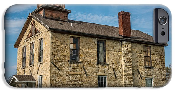 Ruin iPhone Cases - Old Limestone school house iPhone Case by Paul Freidlund