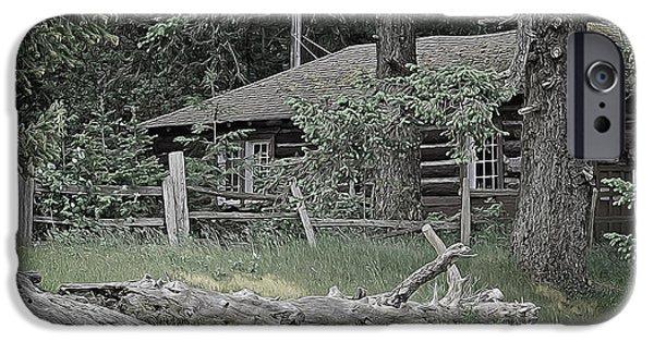 Cabin Window Digital iPhone Cases - Old Log Cabin iPhone Case by Richard Farrington