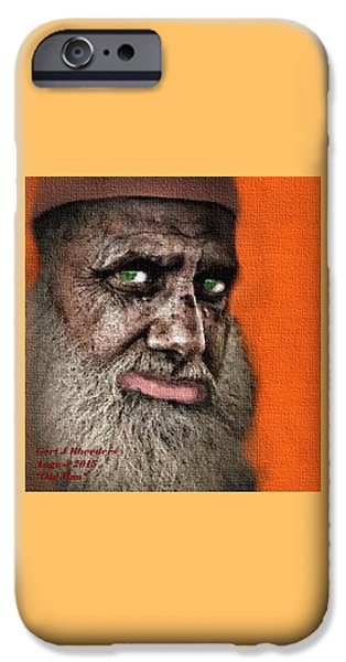 Abstract Digital Pastels iPhone Cases - Old Man H A iPhone Case by Gert J Rheeders