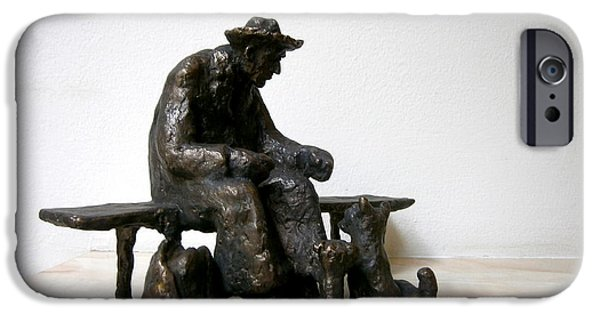 Dog Sculptures iPhone Cases - Old man who fed the dogs iPhone Case by Nikola Litchkov