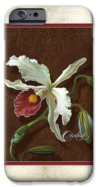 Cattleya iPhone Cases - Old masters Reimagined - Cattleya Orchid iPhone Case by Audrey Jeanne Roberts