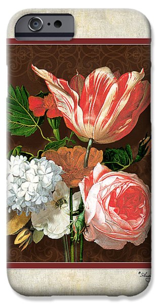 Old Masters iPhone Cases - Old masters Reimagined - Parrot Tulip iPhone Case by Audrey Jeanne Roberts