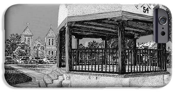 Pen And Ink Illustration iPhone Cases - Old Mesilla Plaza and Gazebo iPhone Case by Jack Pumphrey