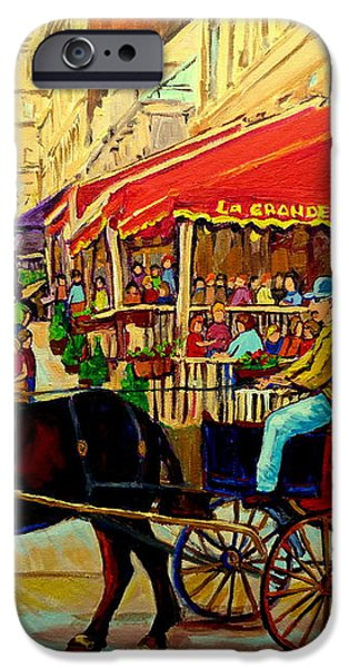 OLD MONTREAL RESTAURANTS iPhone Case by CAROLE SPANDAU