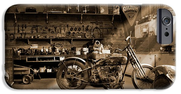 Shops iPhone Cases - Old Motorcycle Shop iPhone Case by Mike McGlothlen