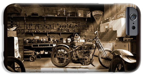 Tone iPhone Cases - Old Motorcycle Shop iPhone Case by Mike McGlothlen