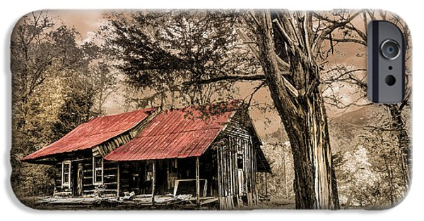 Oak Creek iPhone Cases - Old Mountain Cabin iPhone Case by Debra and Dave Vanderlaan
