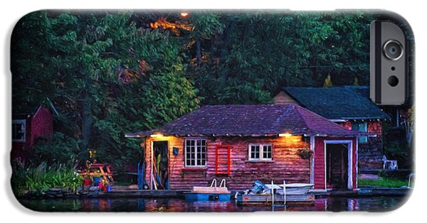 Night Lamp iPhone Cases - Old Muskoka boathouse at night iPhone Case by Les Palenik