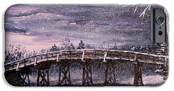 Jack Skinner Paintings iPhone Cases - Old North Bridge in Winter iPhone Case by Jack Skinner