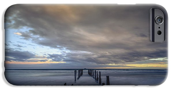 Beach Landscape iPhone Cases - Old Pier at St Clair 1 iPhone Case by Robert Green