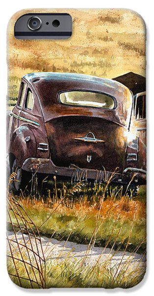 Farm Fields Paintings iPhone Cases - Old Plymouth iPhone Case by Tom Hedderich