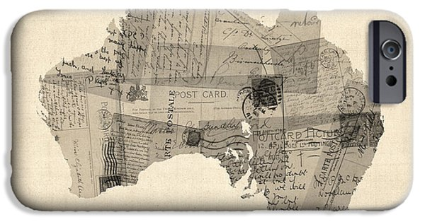 Postcard iPhone Cases - Old Postcard Map of Australia Map iPhone Case by Michael Tompsett