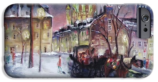Mixed Media Pastels iPhone Cases - old Quebec iPhone Case by Peter Suhocke