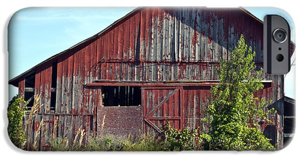 Old Barn iPhone Cases - Old Red Barn iPhone Case by Denise Woldring