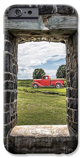 Ancient Ruins iPhone Cases - Old Red Pickup Truck iPhone Case by Edward Fielding