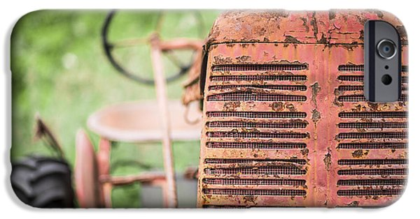 Fall iPhone Cases - Old Red Tractor iPhone Case by Edward Fielding