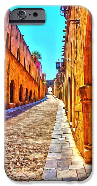 Alley Mixed Media iPhone Cases - Old Rhodes Town Greece iPhone Case by Scott Carruthers
