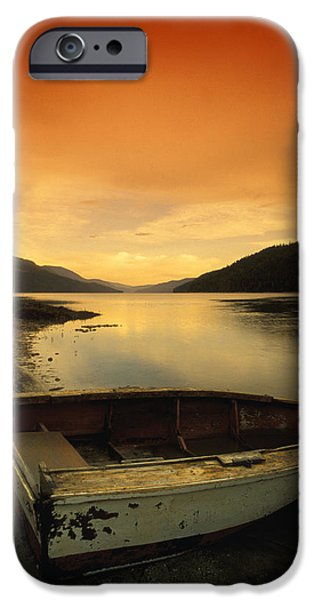 Worn In iPhone Cases - Old Rowboat At Waters Edge With Sunset iPhone Case by Don Hammond