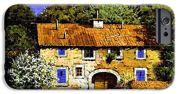 Digital Art Pastels iPhone Cases - Old Rural Villa H b iPhone Case by Gert J Rheeders