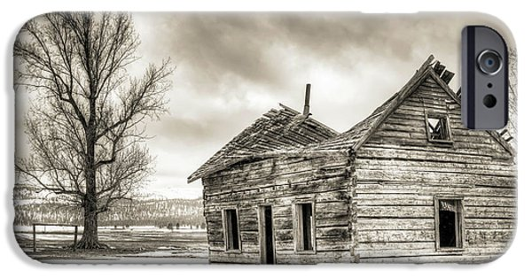 Abandoned House iPhone Cases - Old Rustic Log House in the Snow iPhone Case by Dustin K Ryan