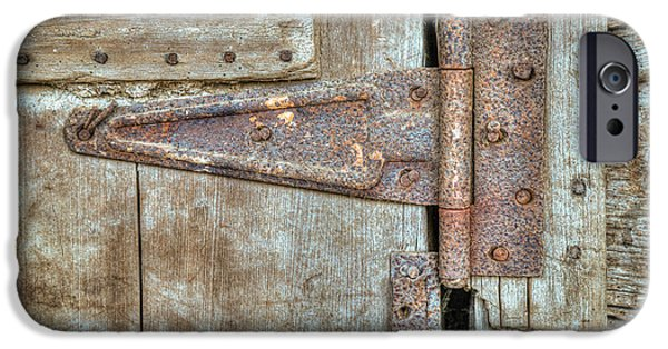 Old Barns iPhone Cases - Old Rusty Barn Hinge iPhone Case by Douglas Barnett