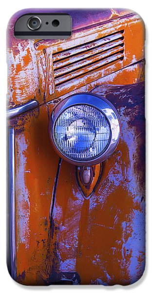 Truck iPhone Cases - Old Rusty Truck Headlight iPhone Case by Garry Gay