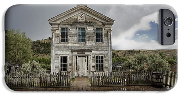 One Room School Houses iPhone Cases - Old School House After Storm - Bannack Montana iPhone Case by Daniel Hagerman
