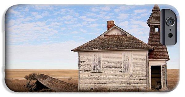 Buildings iPhone Cases - Old Schoolhouse in North Dakota iPhone Case by Jeff  Swan