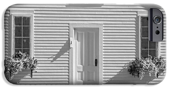 Old Maine Houses iPhone Cases - Old Schoolhouse Sunday River Maine Black and White iPhone Case by Keith Webber Jr