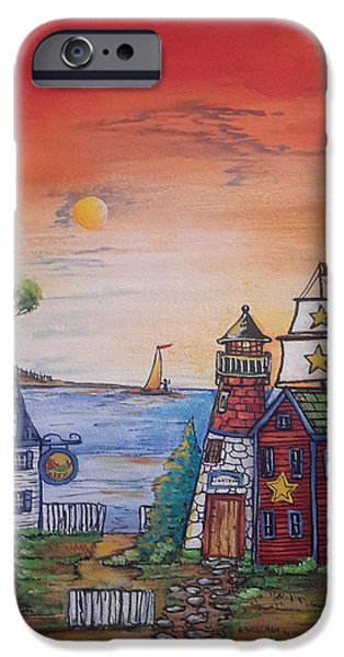 Tall Ship iPhone Cases - Old Seaport Town iPhone Case by Theresa Prokop