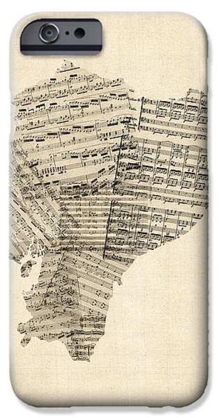 Old Digital Art iPhone Cases - Old Sheet Music Map of Ecuador Map iPhone Case by Michael Tompsett