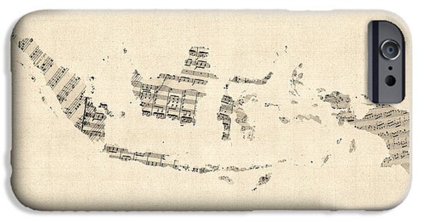 Old Digital Art iPhone Cases - Old Sheet Music Map of Indonesia Map iPhone Case by Michael Tompsett