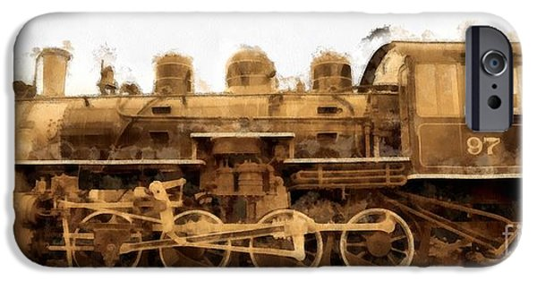 Steam Locomotive iPhone Cases - Old Steam Engine Locomotive Watercolor iPhone Case by Edward Fielding