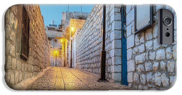 Night Lamp iPhone Cases - Old Stone Alleyway With Electric Lights iPhone Case by Noam Armonn