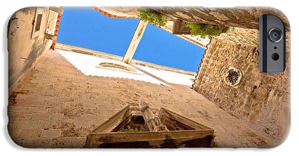 Historic Site iPhone Cases - Old stone narrow street in Sibenik iPhone Case by Dalibor Brlek