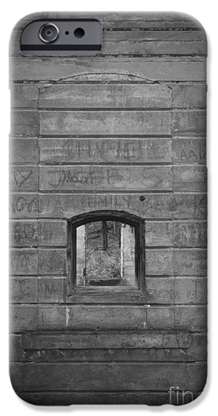 Grey Photographs iPhone Cases - Old Stone Wall with small window iPhone Case by Edward Fielding