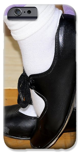 Business Photographs iPhone Cases - Old Tap Dance Shoes With White Socks And Wooden Floor iPhone Case by Pedro Cardona
