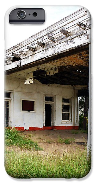 Overhang iPhone Cases - Old Texas Gas Station iPhone Case by Marilyn Hunt
