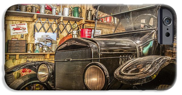 Old Cars iPhone Cases - Old Timey Garage iPhone Case by Debra and Dave Vanderlaan