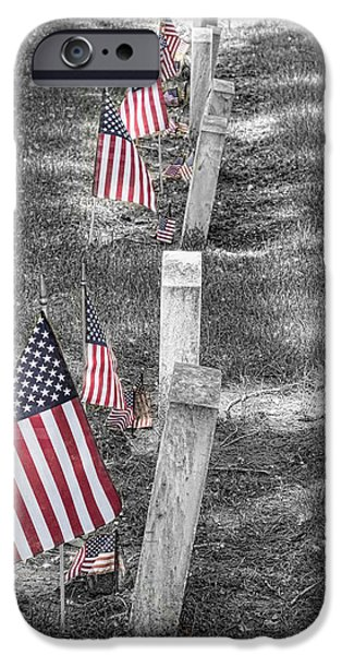 American Flag iPhone Cases - Old Tombstones and American Flags iPhone Case by James BO  Insogna