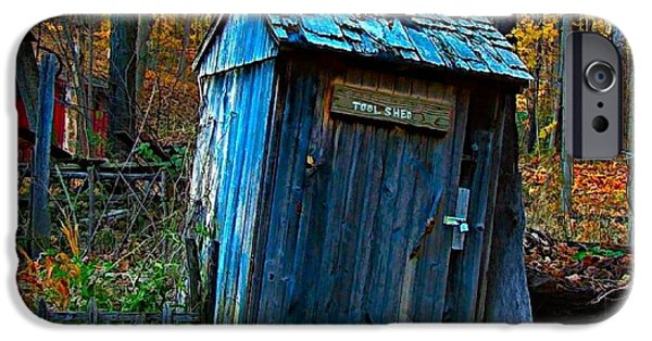 Julie Dant Artography iPhone Cases - Old Tool Shed iPhone Case by Julie Dant