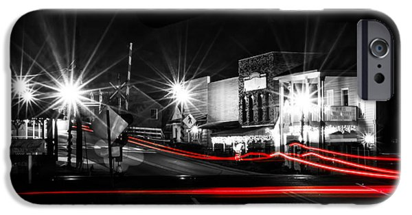 Old Cars iPhone Cases - Old Town Helena At Night iPhone Case by Shelby  Young