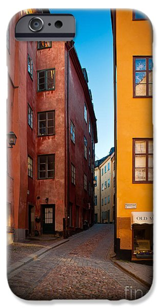 Facade iPhone Cases - Old Town Streets iPhone Case by Inge Johnsson